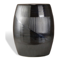 Kathy Kuo Home - Black Pearl Coastal Style Glazed Barrel Side Table - Whether it's an end table in a wine-tasting room, a night stand in a modern bedroom or a stool in your English garden, this rich, ebony-glazed ceramic barrel makes a bold statement. The smooth finish and striated texture add interest to this eclectic piece.