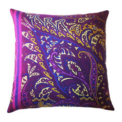 Frontgate - Fall Fiore Vintage Multicolored Indoor Throw Pillow - Pillow insert is duck/down with a double cotton cover. 100% silk outer casing. Zipper enclosure. Printed and embellished with Swarovski® crystals. Dry clean only. Our Fall Fiore Vintage Paisley Indoor Throw Pillows will add a splash of vibrant detail to any room in your home. This pillow features a uniquely bold paisley design.. . . Printed and embellished with Swarovski crystals. . Assembled in the USA.
