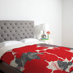 DENY Designs - DENY Designs Khristian A Howell Rendezvous Duvet Cover Multicolor - 13030-DUWKIN - Shop for Duvets from Hayneedle.com! Create a bold statement with the DENY Designs Khristian A Howell Rendezvous 4 Duvet Cover. A bright red color with grey accents highlight the intricately detailed floral print of this custom printed design. Machine washable this ultra-soft duvet cover is made of 100 percent polyester microfiber material. Small metal snaps are placed along the bottom of this duvet cover to ensure a secure closure to your bed. Three size options available.About DENY DesignsDenver Colorado based DENY Designs is a modern home furnishings company that believes in doing things differently. DENY encourages customers to make a personal statement with personal images or by selecting from the extensive gallery. The coolest part is that each purchase gives the super talented artists part of the proceeds. That allows DENY to support art communities all over the world while also spreading the creative love! Each DENY piece is custom created as it's ordered instead of being held in a warehouse. A dye printing process is used to ensure colorfastness and durability that make these true heirloom pieces. From custom furniture pieces to textiles everything they make is unique and distinctively DENY.