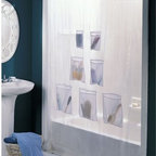CHF Industries - CHF Industries Mesh Pockets Shower Curtain - 3D268107WT - Shop for Shower Curtains from Hayneedle.com! Organization is something to be appreciated at all times yes even in the shower. It can be a challenge to keep products in their right place but now with the CHF Industries Mesh Pockets Shower Curtain you have seven generously sized vinyl mesh pockets at your disposal to store anything from soap razors shampoo or whatever you need for your daily routine. The clear color and contemporary style won't overwhelm but complement your bathroom decor beautifully. At 70 inches long and 72 inches wide this curtain fits most standard sized showers.About CHF IndustriesCHF Industries based in New York is known for its home textile products and is the largest private-label supplier of retail-specific bedding products. CHF offers a diverse range of window products like panels valances shades kitchen tiers and even window hardware. CHF innovates with fashionable solutions such as energy-efficient interlined window panels taking steps to introduce organic products to protect the environment.