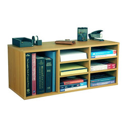 Venture Horizon - Desktop Supply Organizer in Oak Finish w 6 Ad - Versatile storage system. Features 9 adjustable shelves for storage and sorting. Reposition shelves to accommodate large books and binders. Stack units on floor or desk to create a wall of storage. Can also stand the units on end and use as a bookcase. Organizes all papers, binders and more. Rugged construction. Mount on any wall. Constructed from durable, stain resistant and laminated wood composites that includes MDF. Made in the USA. Minimal assembly required. Weight: 28 lbs.. 31 in. W x 12 in. D x 13 in. H9 Compartment unit neatly organizes desk clutter. This versatile storage system features 6 adjustable shelves for storage and sorting. Reposition shelves  to accommodate large books and binders. Stack units on floor or desk to create a wall of storage. You can also stand the units on end and use as a bookcase. Each unit is 13 in. high x 31 in. wide x 12 in. deep and weighs 28 lbs. Constructed from durable, stain resistant melamine laminated particleboard that is stain resistant and easy to clean.