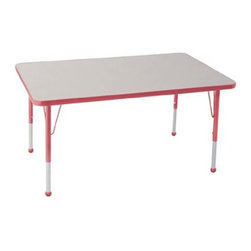 """Ecr4kids - Ecr4Kids Kids Classroom Adjustable Activity Table - Rectangular 30"""" X 48"""" Glide - Table tops feature stain-resistant and easy to clean laminate on both sides. Adjustable legs available in 3 different size ranges: Standard (19""""-30""""), Toddler (15""""-23""""), Chunky (15""""-24""""). Specify edge banding and leg color. Specify leg type."""