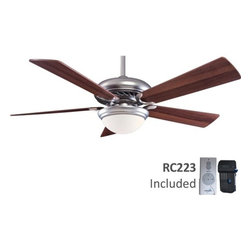 Minka Aire Fans - 52-Inch Ceiling Fan with Five Blades and Light Kit  - F569-BS/DW - Contemporary / modern brushed steel 1-light indoor ceiling fan. Takes (1) 100-watt halogen T4 bulb(s). Bulb(s) sold separately. Dry location rated.