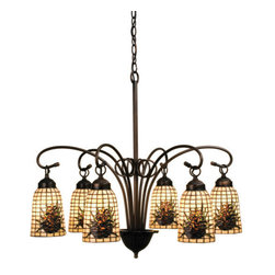 """Meyda Tiffany - Meyda 27.5""""W Pine Barons 6-Light Chandelier - Woodland Brown Pinecones rest on a Beige geometric grid in these Northwood's elongated handcrafted shade. The simple but elegant Mahogany Bronze hardware makes this six light chandelier suitable for country cabin or urban condominium."""