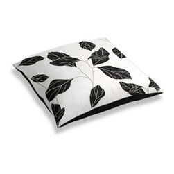 Black & White Modern Leaf Custom Floor Pillow - A couch overflowing with friends is a great problem to have.  But don�۪t just sit there: grab a Simple Floor Pillow.  Pile ���em up for maximum snugging or set around the coffee table for a casual dinner party. We love it in this black and white leaf motif with graphic modern flare.