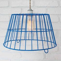 Farm Egg Basket Pendant Light in Blue -