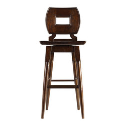 """Stanley Furniture - Artisan Dining Room Wood Bar Stool - Barrel Finish - Hand-distressing adds character to the Wood Bar Stool. The swivel seat has been shaped to comfort the backside, in case the stories at the bar get long-winded. Wood seat, Swivel. Seat dimension: 17 1/2"""" W X 18"""" D Seat height: 29 1/2"""" H Made to order in America."""