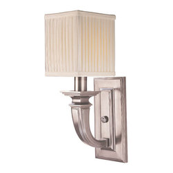 Hudson Valley Lighting - Hudson Valley Lighting 541 Phoenicia 1 Light Solid Brass Wall Sconce - New York's University Club epitomizes old-guard elegance. With its herringbone oak floors, dark paneled walls, and vaulted ceilings, the club's 19thcentury library is a neoclassic jewel in a city of perpetual reinvention. We designed Phoenicia to be at home among the library's fireplaces, philosophers' busts, and patinated leather chairs. Phoenicia's handsome design features raised panel details and pedestal-style bases for the candlesticks. Finely pleated fabric shades add a softer touch, while reinforcing the collection's cubic motif.Dimensions: