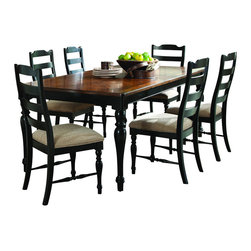 Homelegance - Homelegance McKean 7-Piece Dining Room Set in Black and Brown - Casual country chic is achieved in the design of the McKean collection. The warm hue of the tabletop is perfectly contrasted by the supporting black turned legs. The coordinating chairs feature black turned legs and cross supports, Ladder backs and light neutral seat cushions. The coordinating curio provides drawer space as well as ample display storage behind both glass and wood-fronted doors. The substantial presence and timeless design of this collection will be a welcome addition to your home for many years to come.