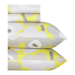 Marimekko Pieni Unikko Yellow Sheet Sets