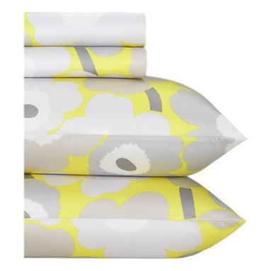 Marimekko Pieni Unikko Yellow Sheet Sets - Update your bedding in the master or guest room with bold yellow.