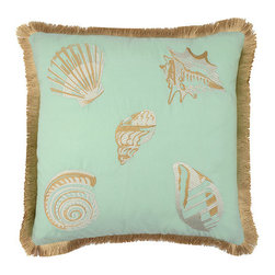 Waverly - Shore Thing Spa 18 X 18-Inch Embroidered Decorative Pillow - - Refresh any room in your home with classic decorative accessories by Waverly�. This charming pillow features cream embroidered seashells on a solid teal ground, reversing to ivory and tan playful coral pattern. Pillow features an inch of decorative fringe on all four edges for added value and style.  - Spot clean only  - 100% prewashed cotton Waverly - 13770018X018SPA