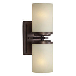 Forte Lighting - Forte Lighting 2424-02-32 Antique Bronze  4.5Wx13Hx5.5E Indoor Up - Contemporary / Modern Indoor Up Lighting Wall Sconce  4.5Wx13Hx5.5E 2-100 Watt Med Brushed Nickel Finish Features White Linen Glass Shade Antique Bronze Finish Features Umber Linen Glass Shade