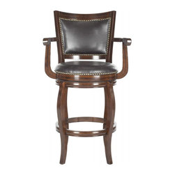 Safavieh - Gitano Bar Stool - Timeless with a Euro-chic edge, the Gitano swivel barstool gives a classic silhouette an update for transitional rooms. Upholstered with dark brown PU leather with bronze nailhead trim, Gitano is crafted of eco-friendly rubberwood in an espresso finish.