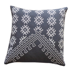 JITI - Fez Charcoal Embroidered Pillow - Tired of the same old stripes? This pillow is the perfect way to freshen up your favorite easy chair. Its decorative embroidery in geometric patterns will bring a global look to your home.