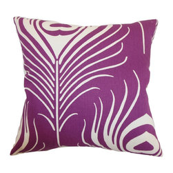 """The Pillow Collection - Lamassa Peacock Pillow Plum 18"""" x 18"""" - Bring a pop of vibrant color to your space with this beautiful peacock throw pillow. This accent pillow adds a modern touch to your furniture with its plum and white color palette. Decorate your living room or bedroom with this peacock square pillow. This 18"""" pillow is easy to blend with other patterns and solids. Made from 100% soft cotton fabric, this decor pillow provides comfort and style to your interiors. Hidden zipper closure for easy cover removal.  Knife edge finish on all four sides.  Reversible pillow with the same fabric on the back side.  Spot cleaning suggested."""