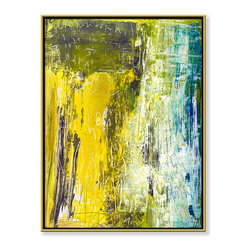 """CHC Art, Inc - In the Colony, 60""""x48"""", Hand Embellished Giclee - This image has planes of yellow and turquoise sweeping across the canvas and text scrawled in the paint, creating depth between the alternating striations of color.- Hand Embellished Giclee.- Gold floater frame with dark espresso edges.- Ready to hang.- Frame adds 1.75"""" to each dimension.- Made in the USA."""
