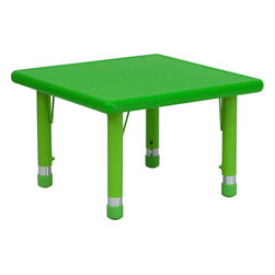 Flash Furniture - 24'' Square Height Adjustable Green Plastic Activity Table - Stop kidding around and make learning fun. Primary colors speak to children in bold, bright ways, making this durable table an ideal way to encourage their artistic and creative impulses. Featuring a plastic top and steel welding underneath, it's certain to last through the childhood years.
