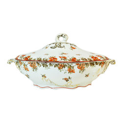Lavish Shoestring - Consigned Iron Red and Gilded Serving Bowl and Lid by Ridgways, Antique English - This is a vintage one-of-a-kind item.