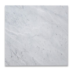 "Stone Center Corp - Carrara White Marble Tile 24x24 Honed - Premium grade Carrara White Marble tile 24"" width x 24"" length x 3/8"" thickness; Honed finish"