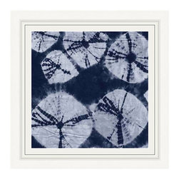 Blue and White Tye Dye Framed Print - In a stark transitional interior, the Blue and White Tie Dye Framed Print is a pure abstract, its organic round forms an expression of organic textiles' geometric but wavering patterns; in a seaside home, the setting helps the eye to read sea urchins into the varying sizes and soft patterns of the circles. In any space, the artwork's asymmetry gives couture style.