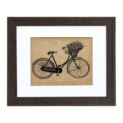 Fiber and Water - Vintage 1940'S Dutch Bicycle Art - This lovely print of a 1940s Dutch bicycle with a basket full of flowers is loaded with nostalgic country charm. Hand-pressed onto natural burlap like a vintage sack design, it comes ready to hang in a distressed black wood frame to complete the rustic-chic look.