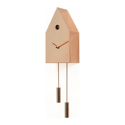 Progetti - 24K 2195 Copper Wall Clock - Elegant, refined and timeless. 24k, Alberto Sala design, made entirely of metal sheet in real gold 24K or copper plating is an essential cuckoo, volume in the shape of a house that seems to arise from an ingot. Want to be a decorative object visible but without excess, but at the same time delicate character. Unlike other Progetti cuckoo, 24k has two elegant cylindrical elements positioned at different heights connected to the structure with two thin rods which are also metal in the same color as the case and hands. The Cuckoo strike is switched off automatically during the night controlled by a light sensor.