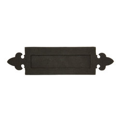 Fleur de Lis Iron Mail Slot - This iron mail slot features fleur de lis accents that will add a stately elegance to any home. Pair with other fleur de lis hardware to complete the look.