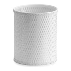 W.c. Redmon - White Wicker Waste Basket - This attractive white wicker waste basket is an attractive and functional addition to any room in the house. Whether placed in the office, den or powder room this sturdy, high-quality construction will endure for years to come.