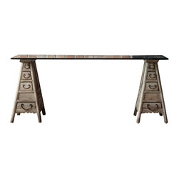 Marco Polo Imports - Delacroix Desk - Authentic European antique desk reproduced by seasoned artisans to capture the look of Old World craftsmanship. Every delicious detail - from painting or patina - is done by hand.  Features various drawers finished with iron pulls and an airy glass top.