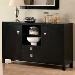 Hokku Designs - Server / Buffet - Crisp edged and a clean profile give our Espresso Buffet a decidedly mid-century modern feel. Perfect for dining room or kitchen. Features: -Material: Solid wood and wood veneer.-Contemporary style.-Two center drawer with a large open display compartment.-Two side cabinets with swing-to-open doors.-Nickel hardware pulls.-Comes with corner block provide structural integrity.-Dark wood espresso finish.-Distressed: No.Dimensions: -Overall Product Weight: 164 lbs.