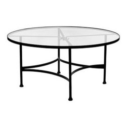 """Classico 48""""Rd. Round Glass Top Dining Table With 2"""" Umbrella Hole - Dimensions -"""