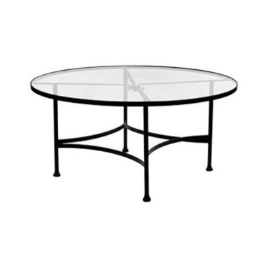 "Classico 48""Rd. Round Glass Top Dining Table With 2"" Umbrella Hole - Dimensions -"