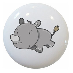 Carolina Hardware and Decor, LLC - Baby Rhinoceros Ceramic Cabinet Drawer Knob - New 1 1/2 inch ceramic cabinet, drawer, or furniture knob with mounting hardware included. Also works great in a bathroom or on bi-fold closet doors (may require longer screws). Item can be wiped clean with a soft damp cloth. Great addition and nice finishing touch to any room!