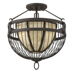 Fredrick Ramond - Fredrick Ramond FR42873VBZ AVA Transitional Semi Flush Mount Ceiling Light - Ava's transitional wire bird cage design captures an over scaled stained Mica shade with a concealed light source. The Vintage Bronze finish adds to its dramatic appeal.