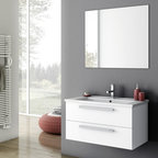 ACF - 32 Inch Bathroom Vanity Set - Set Includes: . Vanity Cabinet (2 drawers). Fitted ceramic sink (33.6 inch x 17.1 inch ). Mirror (W 33.6 inch x H 28.3 inch ). Vanity Set Features:. Vanity cabinet made of engineered wood. Cabinet features waterproof panels. Available in Glossy White, Grey Oak Senlis, Style Oak. Cabinet features 2 soft-closing drawers. Faucet not included. Perfect for modern bathrooms. Made and designed in Italy. Includes manufacturer 5 year warranty.