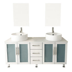 "JWH Imports - 59"" Double Lune White Large Vessel Sink Contemporary Bathroom Vanity Cabinet Set - The epitome of form meets function, this contemporary double vanity boasts two sinks, two generously sized cabinets with frosted glass doors, and a middle panel of three sliding, soft-close drawers. Aesthetically stunning yet oh-so-practical, this bathroom vanity is an exquisite addition to your powder room with storage options aplenty."