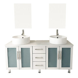 Double Lune White Large Vessel Sink Contemporary Bathroom Vanity Cabinet Set