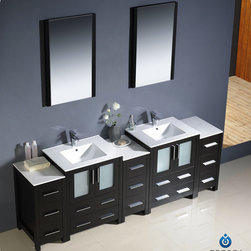 "Fresca - Fresca Torino 84"" Double Integrated Sink Vanity Set w/ 3 Side Cabinets - Fresca is pleased to usher in a new age of customization with the introduction of its Torino line. The frosted glass panels of the doors balance out the sleek and modern lines of Torino, making it fit perfectly in either 'Town' or 'Country' decor. Available in the rich finishes of Espresso, Glossy White, Light Oak and Walnut Brown, all of the vanities in the Torino line come with either a ceramic vessel bowl or the option of a sleek modern ceramic integrated sink."