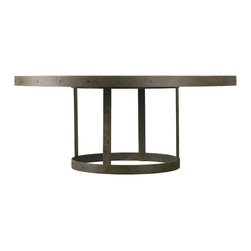 "Lillian August - Lillian August Grant 72"" Round Dining Table LA94010-01 - A dramatically scaled, vintage industrial, round dining table featuring a weathered wood top enhanced with a textured iron, riveted and welded, rim and base."
