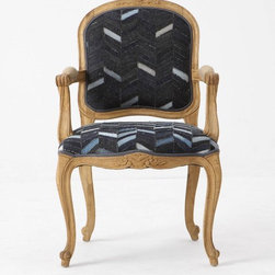 Grafton Chair, Denim - Everyone knows the best way to dress down an outfit is to add denim. Turns out, the same theory holds for chairs! Herringbone in different washes of jean blue takes this Louis-style chair from stuffy to eclectically chic.