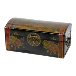 Oriental Furniture - Black Lacquer Flowers Jewelry Box - This hand-crafted wooden keepsake box with a curved lid is finished with a medium gloss black lacquer. Each box is hand painted with a traditional Ming era birds and flowers motif. Includes antiqued brass handles at both ends, as well as a classic oriental medallion hasp with lock pin.