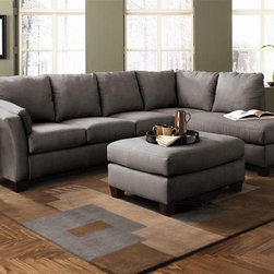 Klaussner Furniture – Drew Sectional Sofa in Charcoal Microsuede with Right Faci - Set includes Right Facing Chaise and Left Facing Sofa