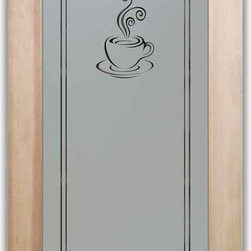 """Pantry Door - Espresso Design by Sans Soucie - PANTRY DOORS TO SUIT YOUR STYLE!  Glass Pantry Doors you customize, from wood type to glass design!   Shipping is just $99 to most states, $159 to some East coast regions, custom packed and fully insured with a 1-4 day transit time.  Available any size, as pantry door glass insert only or pre-installed in a door frame, with 8 wood types available.  ETA for pantry doors will vary from 3-8 weeks depending on glass & door type.........Block the view, but brighten the look with a beautiful obscure, decorative glass pantry door by Sans Soucie!   Select from dozens of frosted glass designs, borders and letter styles!   Sans Soucie creates their pantry door obscure glass designs thru sandblasting the glass in different ways which create not only different effects, but different levels in price.  Choose from the highest quality and largest selection of frosted glass pantry doors available anywhere!   The """"same design, done different"""" - with no limit to design, there's something for every decor, regardless of style.  Inside our fun, easy to use online Glass and Door Designer at sanssoucie.com, you'll get instant pricing on everything as YOU customize your door and the glass, just the way YOU want it, to compliment and coordinate with your decor.  When you're all finished designing, you can place your order right there online!  Glass and doors ship worldwide, custom packed in-house, fully insured via UPS Freight.   Glass is sandblast frosted or etched and pantry door designs are available in 3 effects:   Solid frost, 2D surface etched or 3D carved. Visit or site to learn more!"""