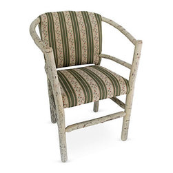 "Genesee River - Rustic Hoop Back Chair - Handcrafted in Pennsylvania this tenoned hickory hoop chair frame is painted in parchment and hand aged. Upholstered in reproduction french floral and stripe cotton fabric on back of chair and seat. Fabric has green stripe with cream background with floral stripes of pink, blue and green. Seat height 19.5""."