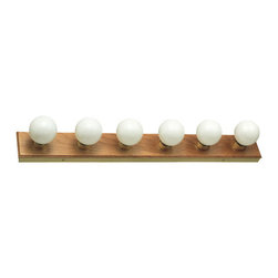 "Design House - Design House 500223 Strip Light Traditional / Classic 6 Light Ambient Lighting B - Design House 6 Light Honey Oak 36"" Bath LightHoney Oak Bath Light."