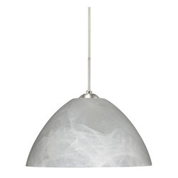 """Besa Lighting - Besa Lighting 1JC-420152 Tessa 1 Light Cord-Hung Pendant - Tessa has a classical bell shape that complements aesthetic, while also built for optimal illumination. Our Marble glass is a pressed glass that features swirls of white throughout semi-translucent frost, to create a faux alabaster appearance. When lit this gives off a light that is functional and soothing. The smooth satin finish on the clear outer layer is a result of an extensive etching process. This handcrafted glass uses a process where every glass is consistently produced using a press mold, keeping variations to a minimum. The cord pendant fixture is equipped with a 10' SVT cordset and an """"Easy Install"""" dome monopoint canopy.Features:"""