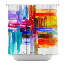 DiaNoche Designs - Shower Curtain Artistic Color Strokes - DiaNoche Designs works with artists from around the world to bring unique, artistic products to decorate all aspects of your home.  Our designer Shower Curtains will be the talk of every guest to visit your bathroom!  Our Shower Curtains have Sewn reinforced holes for curtain rings, Shower Curtain Rings Not Included.  Dye Sublimation printing adheres the ink to the material for long life and durability. Machine Wash upon arrival for maximum softness. Made in USA.  Shower Curtain Rings Not Included.