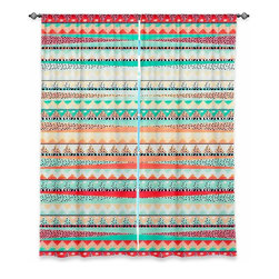"DiaNoche Designs - Window Curtains Lined by Nika Martinez - Summer Boho - DiaNoche Designs works with artists from around the world to print their stunning works to many unique home decor items.  Purchasing window curtains just got easier and better! Create a designer look to any of your living spaces with our decorative and unique ""Lined Window Curtains."" Perfect for the living room, dining room or bedroom, these artistic curtains are an easy and inexpensive way to add color and style when decorating your home.  This is a woven poly material that filters outside light and creates a privacy barrier.  Each package includes two easy-to-hang, 3 inch diameter pole-pocket curtain panels.  The width listed is the total measurement of the two panels.  Curtain rod sold separately. Easy care, machine wash cold, tumble dry low, iron low if needed.  Printed in the USA."
