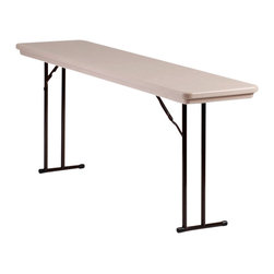 Correll Inc - Set Leg Seminar Table - R Series Off (Gray Gr - Finish: Gray GraniteLight weight, waterproof, and virtually indestructible blow-molded plastic top. Resists damage even from gasoline, paint remover, battery acid, and drain cleaner. Paint and permanent marker can be removed without damage. Colors go all the way through, will not wear or scratch off. Strong steel ladder frame. 1 in. 18 gauge steel pedestal legs. Mar-proof plastic foot caps. Automatic lock-open mechanism. For maximum leg room. Knife-lock folding mechanism which is attached to the back leg. Making underneath the table completely open. Leaving nothing to interfere with the user's leg room. Easy to handle, set up and move. Designed for repeated commercial use, and will last far longer than the cheap light duty seminar tables. Pictured in Mocha Granite. 18 in. W x 72 in.